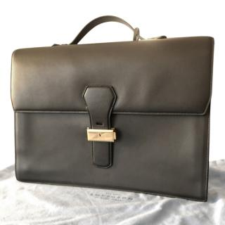 Smythson Black Grained Leather Briefcase