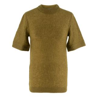 Prada Khaki Semi Sheer Mohair Blend Knit Top