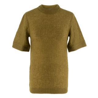 Prada Khaki Semi Sheer Mohair Blend Knit Top