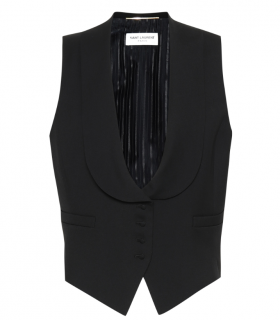 Saint Laurent Black Virgin Wool Gabardine Waist Coat