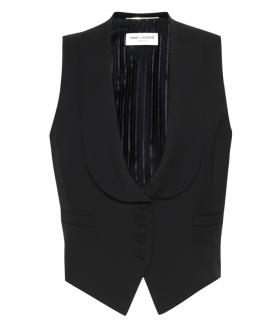 Saint Laurent Black Virgin Wool Gabardine Waist Coat