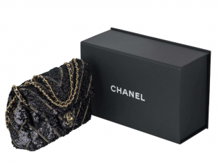Chanel Runway Chevron Sequin Embellished Classic Bag