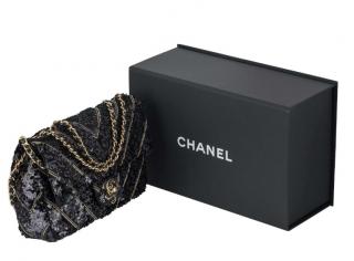 Chanel Runway Chevron Sequin Embellished Classic Bag