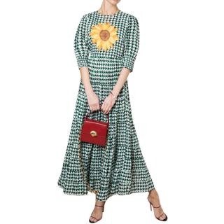 Rixo Green Houndstooth Sunflower Print Dress