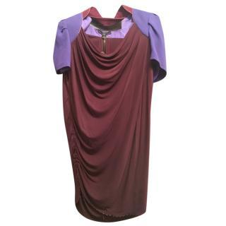 Louis Vuitton Burgundy & Purple Draped Tunic Dress