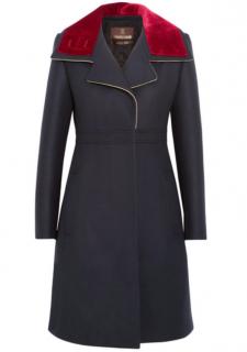 Roberto Cavalli Navy Military Coat w/ Velvet Collar