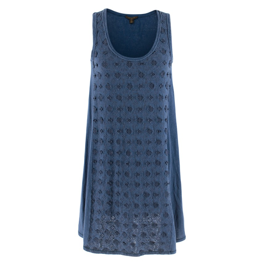 Louis Vuitton Blue Embroidered Shift Dress