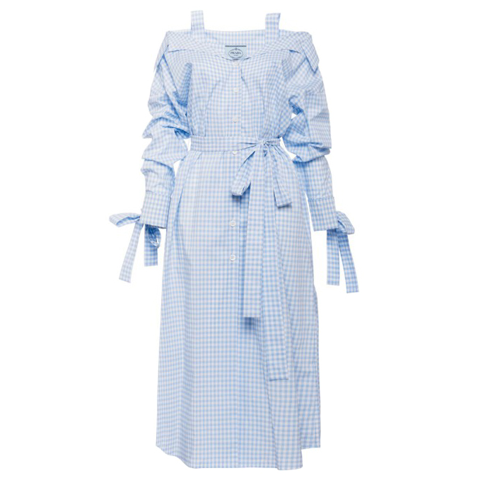 Prada light blue gingham cotton chemisier dress