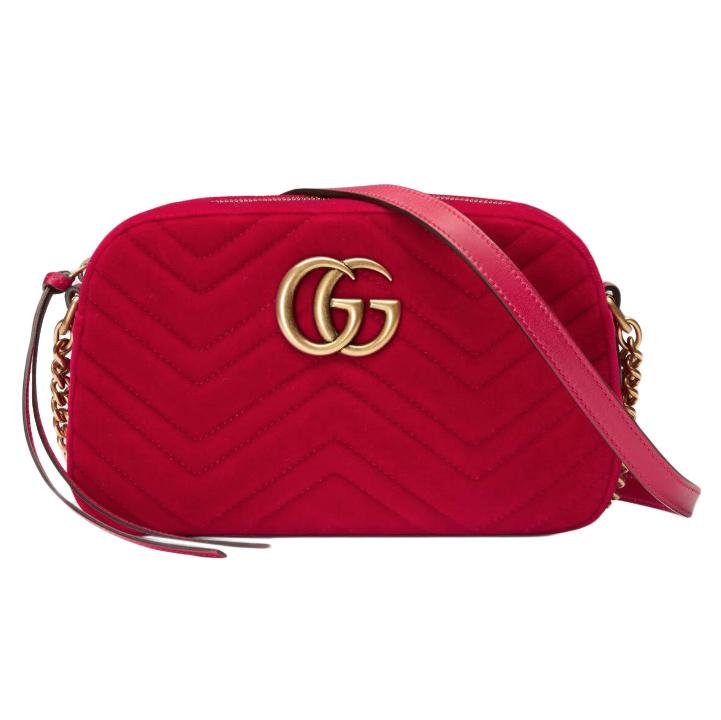 Chanel Red Marmont Velvet Camera Bag