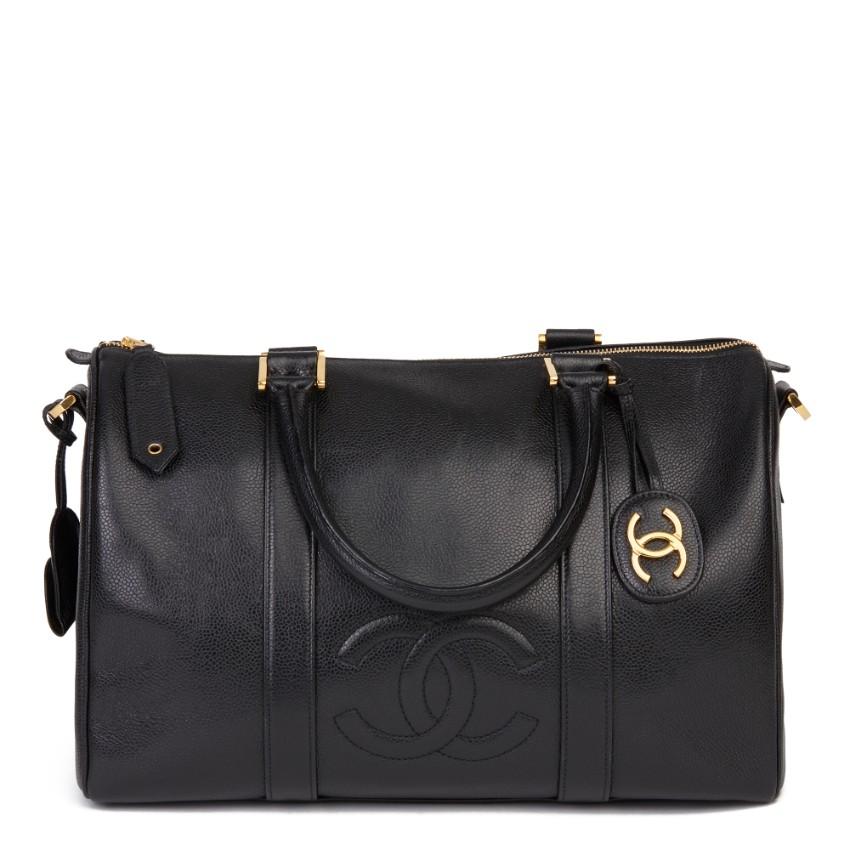 Chanel Black Vintage Boston Bag in Caviar Leather