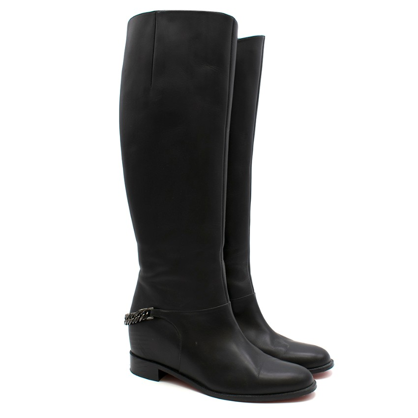 Christian Louboutin Cate chain-trimmed leather riding boots