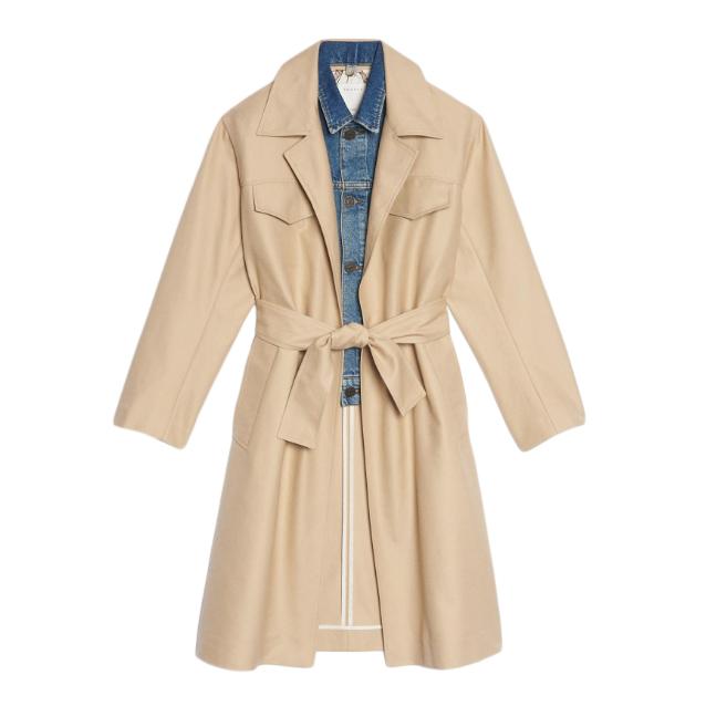 Sandro Trench Coat With Denim Jacket Insert