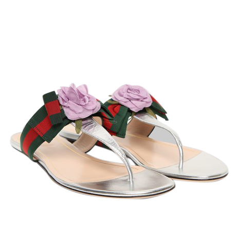 Gucci Metallic Leather Embellished Thong Sandals With Grograin Web Bow