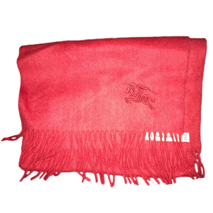 Burberry Red Cashmere Embroidered Scarf