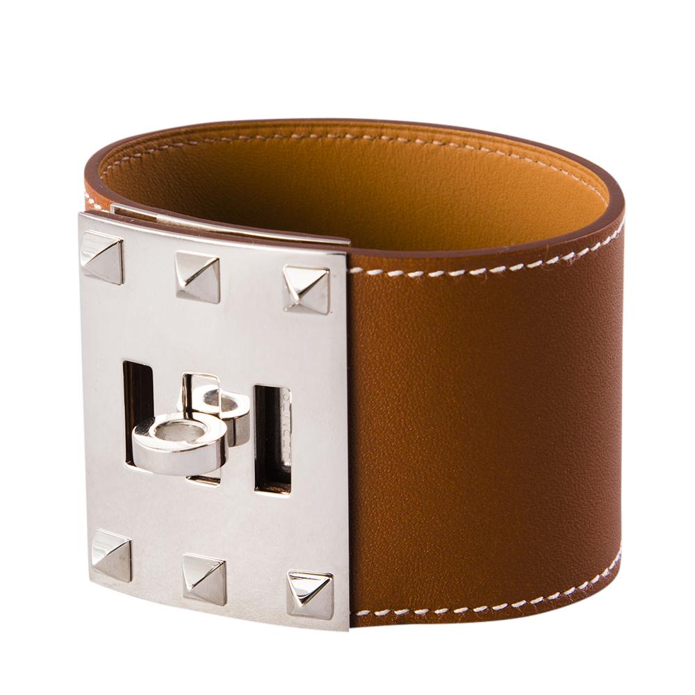 Hermes Silver Swift Leather Kelly Dog Extreme Bracelet PHW