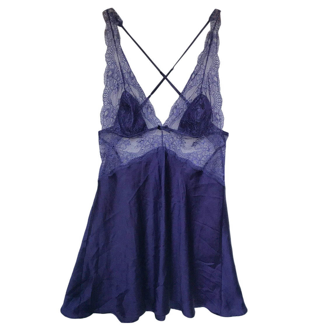 Victoria's Secret Violet Blue Satin Lace Trim Cami