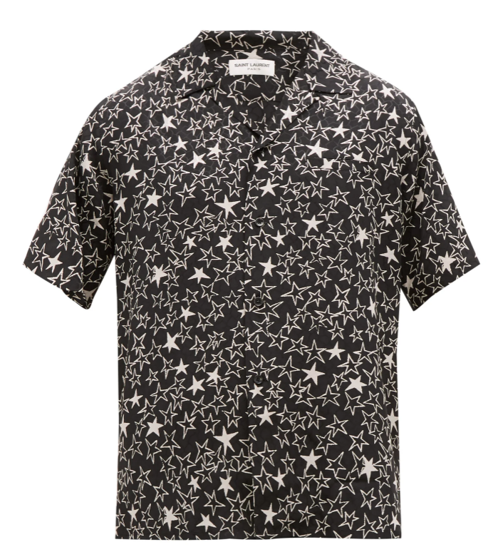Saint Laurent Star-print jacquard silk shirt