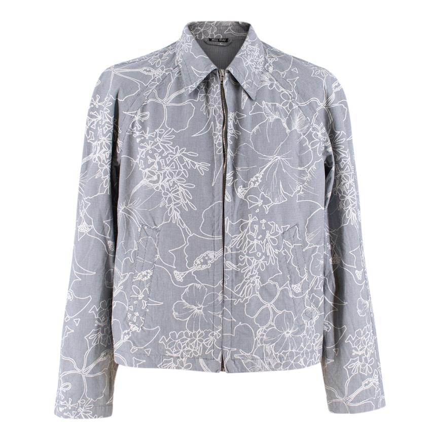 Miu Miu Printed Cotton Zip-Up Jacket