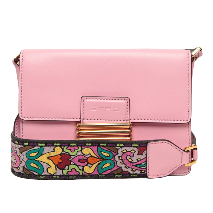 Etro Pink Embroidered Rainbow Bag