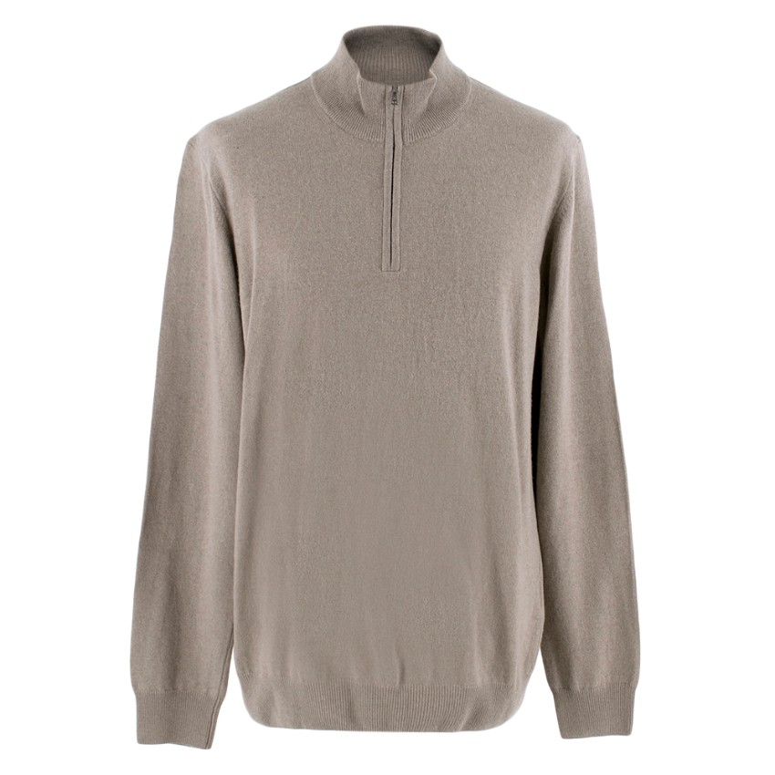 Hackett Grey Merino Wool and Cashmere Blend Half Zip Sweater
