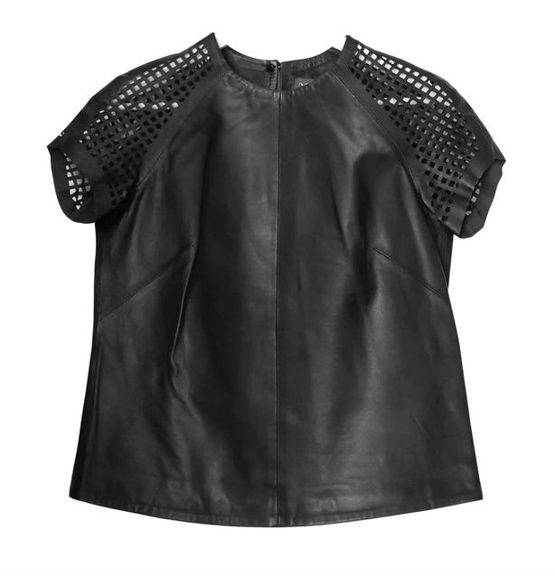 Muubaa soft black leather t shirt