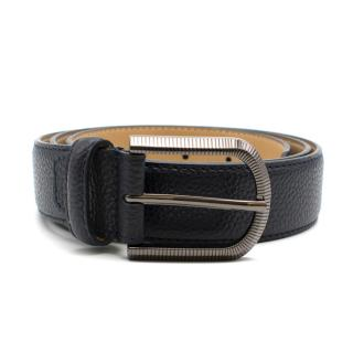 Balmain Black Leather Belt with Silver Tone Hardware