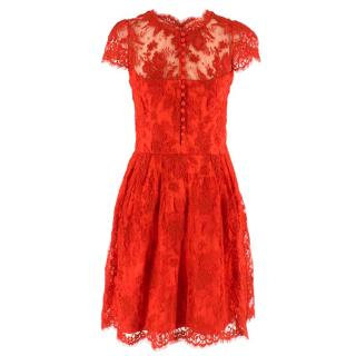 Issa London Red Lace A-line Dress
