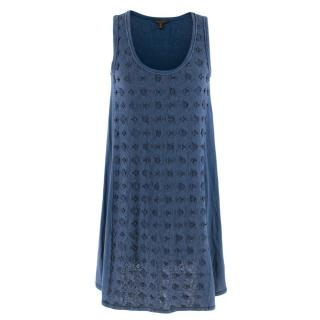 Louis Vuitton Blue Embroidered Shift Dress