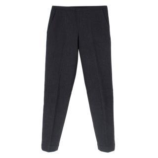 Prada Grey Wool Padded Straight Leg Pants