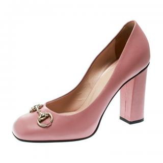 Gucci blush pink horse bit loafer pumps