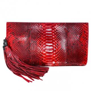 Gucci red python tassel detail clutch bag