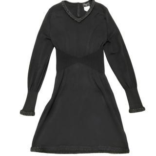 Chanel black knitted CC button v neck dress