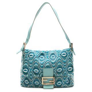 Fendi Blue Beaded Baguette Square Shoulder Bag