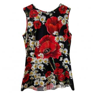 Dolce & Gabbana floral silk fitted top