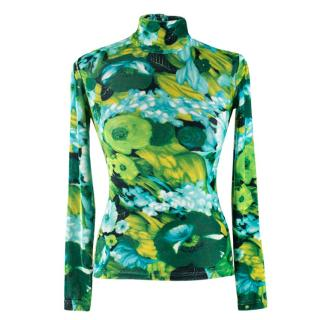 Richard Quinn Turtleneck Long-sleeve Floral-print Top