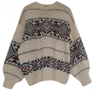 Polo Ralph Lauren Cream fairisle style jumper with black and red