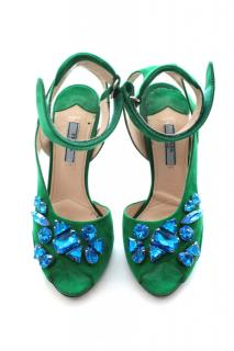Prada embellished suede sandals made from green suede leather