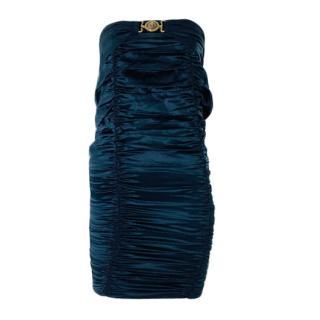 Roberto Cavalli ruche black silk mini dress