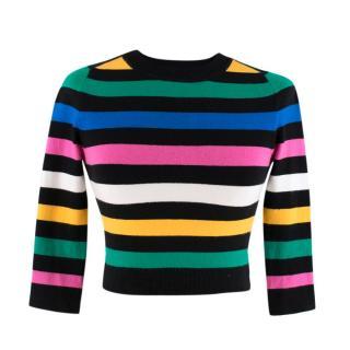 JoosTricot Black Multicoloured Striped Cotton Sweater