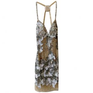 Bespoke sequin and nude tulle evening dress