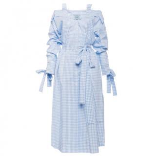 Prada light blue gingham cotton chemisier dress