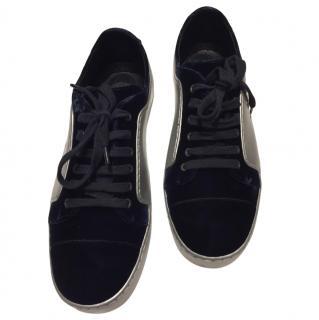 Chanel dark navy fabric sneakers
