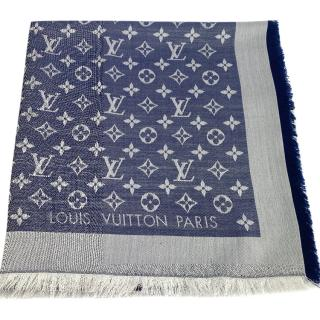 Louis Vuitton Monogram Denim Blue Silk/Wool Shawl.