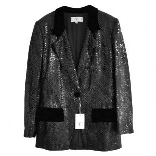 Vintage Valentino 1980's black sequin blazer