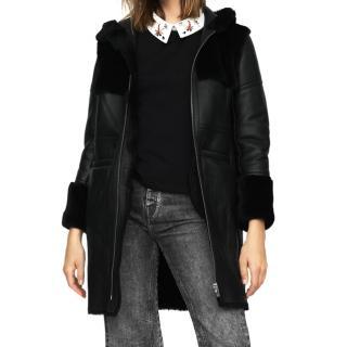 Maje black hooded sheepskin coat