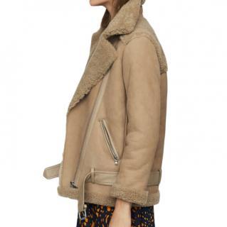 Maje Biker camel shearling jacket