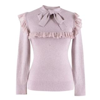 JoosTricot Lilac Ruffled pussy-bow Lurex Sweater