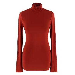 Kwaidan Editions Red Roll Neck Stretch Top