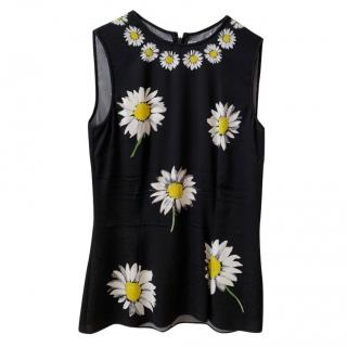 Dolce & Gabbana Silk Daisy Print Sleeveless Top