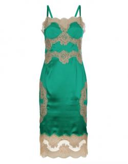 Dolce & Gabbana green silk lace slip dress